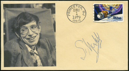 UNITED STATES OF AMERICA - CIRCA 1974: A stamp printed in USA shows SkyLab and Stephen William Hawking (1942-2018), physicist, 1st anniversary of the launching of Skylab and to honor all who participated in the Skylab projects, circa 1974