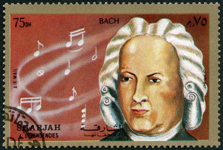 シャルジャと依存関係 - CIRCA 1972 : シーア派と依存関係に印刷されたスタンプは、ヨハン・セバスチャン・バッハ(1685-1750)、1972年頃を示しています 写真素材 - 106399538
