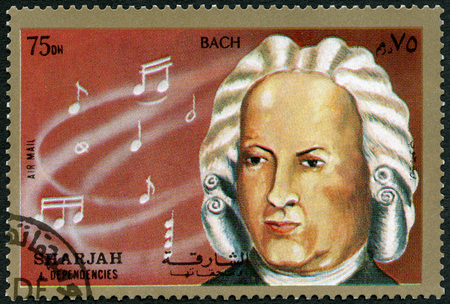 SHARJAH & DEPENDENCIES - CIRCA 1972 : A stamp printed in Shiarjah & Dependencies shows Johann Sebastian Bach (1685-1750), circa 1972 報道画像