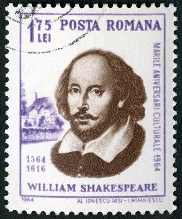ROMANIA - CIRCA 1964: A stamp printed in Romania shows William Shakespeare (1564-1616), 400th birth anniversary, circa 1964