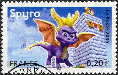 FRANCE - CIRCA 2005: A stamp printed in France shows Spyro, Games, circa 2005 Editorial
