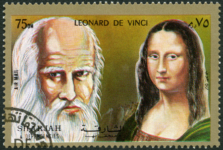SHARJAH & DEPENDENCIES - CIRCA 1972 : A stamp printed in Shiarjah & Dependencies shows Leonardo di ser Piero da Vinci (1452-1519) and The Mona Lisa, circa 1972