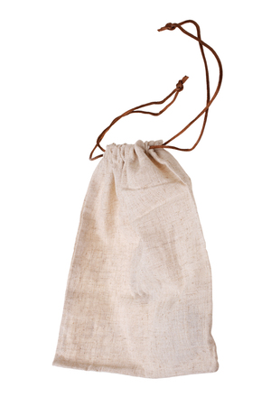 Empty burlap pouch isolated on white background
