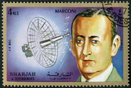 SHARJAH & DEPENDENCIES - CIRCA 1972: A stamp printed in Shiarjah & Dependencies shows Guglielmo Marconi Marquis (1874-1937), circa 1972