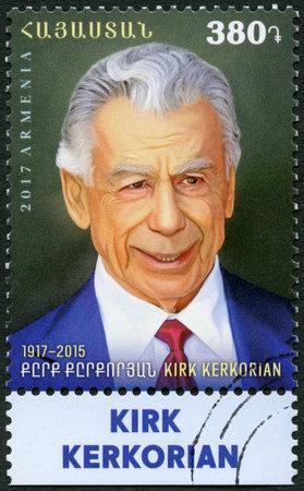 ARMENIA - CIRCA 2017: A stamp printed in Armenia shows Kerkor Kirk Kerkorian (1917-2015), businessman, circa 2017 Editorial