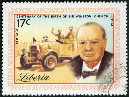 LIBERIA - CIRCA 1974: A stamp printed in Liberia shows Sir Winston Spencer Churchill (1874-1965), statesman, Prime Minister, circa 1974