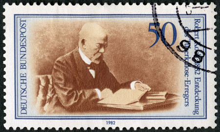 GERMANY - CIRCA 1982: A stamp printed in Germany shows Robert Heinrich Hermann Koch (1843-1910), Discoverer of Tubercle Bacillus, 1882, Nobel Prize in Physiology or Medicine, circa 1982