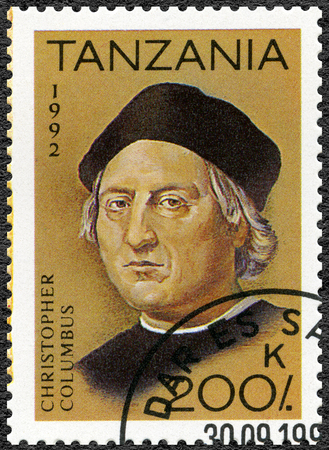 TANZANIA - CIRCA 1992: A stamp printed in Tanzania devoted to 500th anniversary of the discovery of America, shows Christopher Columbus (1451-1506), circa 1992
