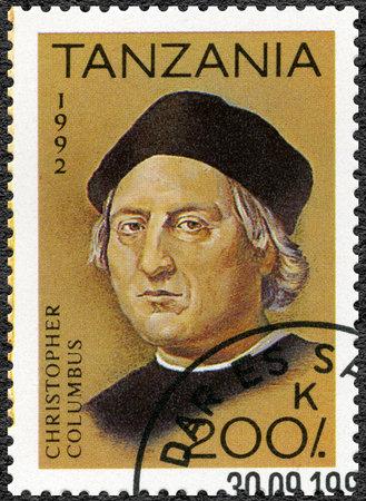 TANZANIA - CIRCA 1992: A stamp printed in Tanzania devoted to 500th anniversary of the discovery of America, shows Christopher Columbus (1451-1506), circa 1992 Archivio Fotografico - 106399589