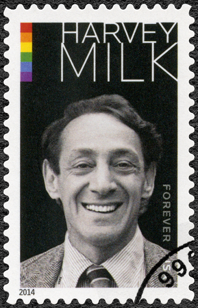 UNITED STATES OF AMERICA - CIRCA 2014: A stamp printed in USA shows Harvey Bernard Milk (1930-1978)  American politician and the first openly gay elected official , circa 2014