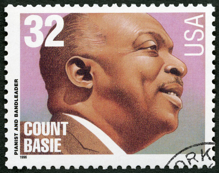 UNITED STATES OF AMERICA - CIRCA 1996: A stamp printed in USA shows William James Count Basie (1904-1984), jazz composer, pianist and bandleader, circa 1996