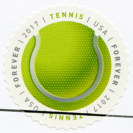 UNITED STATES OF AMERICA - CIRCA 2017: A stamp printed in USA shows Tennis ball, series Have a Ball, circa 2017