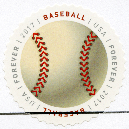 UNITED STATES OF AMERICA - CIRCA 2017: A stamp printed in USA shows Baseball ball, series Have a Ball, circa 2017
