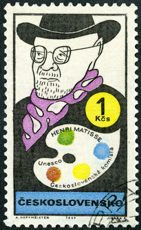 CZECHOSLOVAKIA - CIRCA 1969: A stamp printed in Czechoslovakia shows portrait of Henri Emile Benoit Matisse (1869-1954), series Cultural personalities of the 20th centenary and UNESCO, circa 1969
