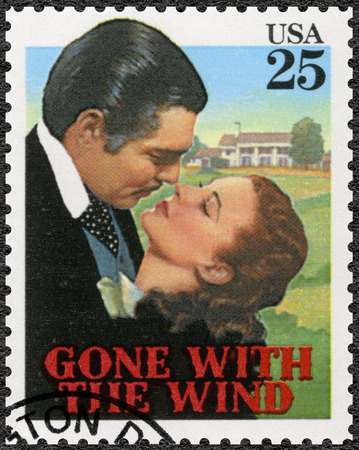 USA - CIRCA 1990: A stamp printed in USA shows Gone with the wind, Vivien Leigh as Scarlett, Clark Gable  as Rhett, Classic Films, circa 1990