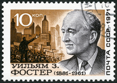 USSR - CIRCA 1971: A stamp printed in USSR shows William Z. Foster (1881-1961) Marxist politician, circa 1971 Editorial