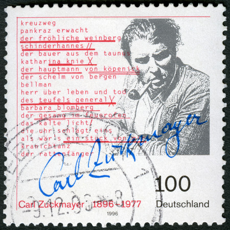 GERMANY - CIRCA 1996: A stamp printed in Germany shows Carl Zuckmayer (1896-1977), German writer and playwright, circa 1996