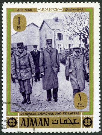 AJMAN - CIRCA 1975: A stamp printed in Ajman shows Churchill, Charles de Gaulle and Jean Gabriel de Lattre, devoted End World War II, circa 1975 Editorial