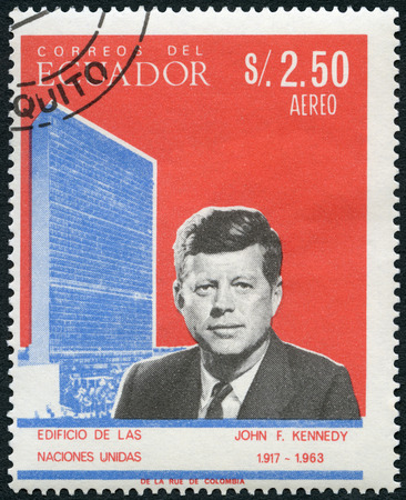 ECUADOR - CIRCA 1966: A stamp printed in Ecuador shows Portrait of John Fitzgerald Kennedy (1917-1963), 35th president of the United States, and United Nations Headquarters in New York City, series Famous Men, circa 1966