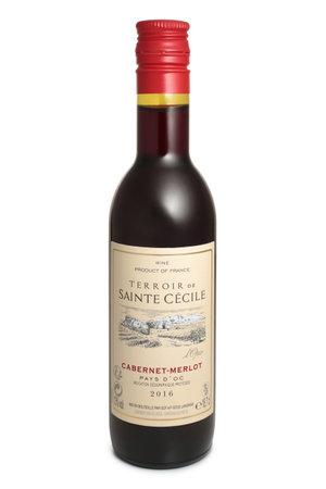 ST. PETERSBURG, RUSSIA - AUGUST 12, 2018: Bottle of Terroir de Sainte Cecile Cabernet-Merlot, France, 2016