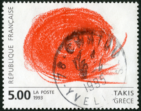 FRANCE - CIRCA 1993: A stamp printed in France shows Abstract by Takis, European Contemporary Art, circa 1993