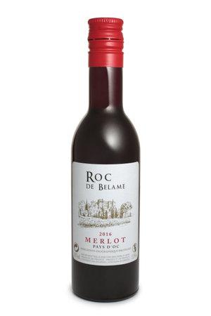 ST. PETERSBURG, RUSSIA - AUGUST 12, 2018: Bottle of Roc de Belame Merlot, France, 2016