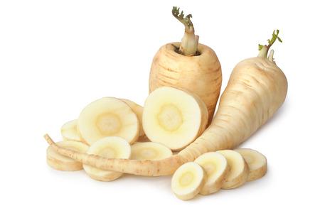 Pastinake auf weißem Hintergrund Standard-Bild