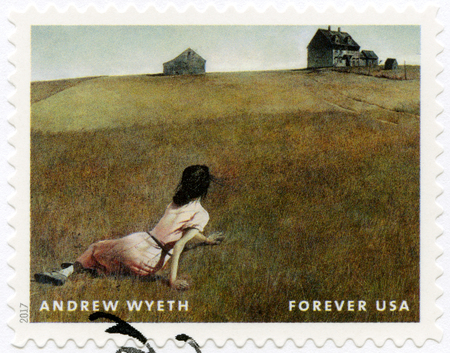 USA - CIRCA 2017: A stamp printed in USA shows Christina's World, Andrew Newell Wyeth (1917-2009), Ceremony Memento, circa 2017 스톡 콘텐츠 - 120167407