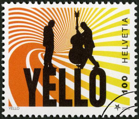 SWITZERLAND - CIRCA 2016: A stamp printed in Switzerland shows Yello, Swiss electronic duo band, circa 2016