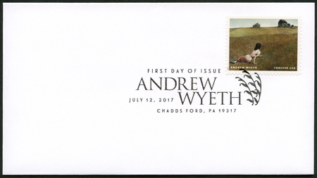 USA - CIRCA 2017: A stamp printed in USA shows Christinas World, Andrew Newell Wyeth (1917-2009), Ceremony Memento, circa 2017