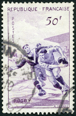 FRANCE - CIRCA 1956: A stamp printed in France shows Rugby union, circa 1956