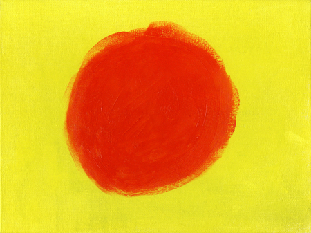 The red circle on yellow background, oil painting Stock Photo