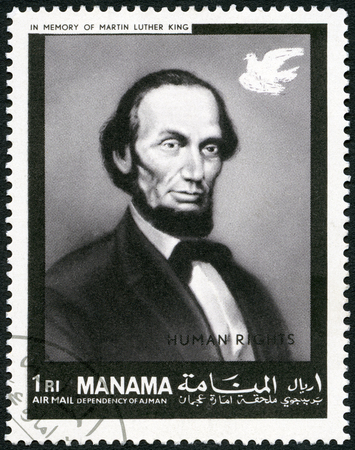 MANAMA - CIRCA 1969: A stamp printed in Manama shows President of USA Abraham Lincoln (1809-1865), human rights, in memory of Martin Luther King, circa 1969 Sajtókép