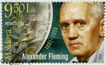 MOLDOVA - CIRCA 2018: A stamp printed in Republic of Moldova shows Sir Alexander Fleming (1881-1955), Discoverer of Penicillin, circa 2018