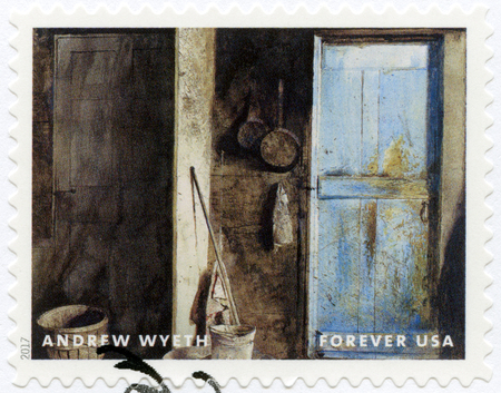 USA - CIRCA 2017: A stamp printed in USA shows Alvaro and Christina, Andrew Newell Wyeth (1917-2009), Ceremony Memento, circa 2017 Editorial