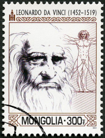 MONGOLIA - CIRCA 2014: A stamp printed in Mongolia shows portrait shows Leonardo di ser Piero da Vinci (1452-1519), circa 2014 에디토리얼
