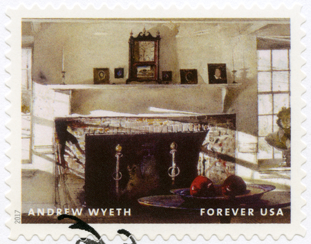 USA - CIRCA 2017: A stamp printed in USA shows Big room, Andrew Newell Wyeth (1917-2009), Ceremony Memento, circa 2017 Editorial