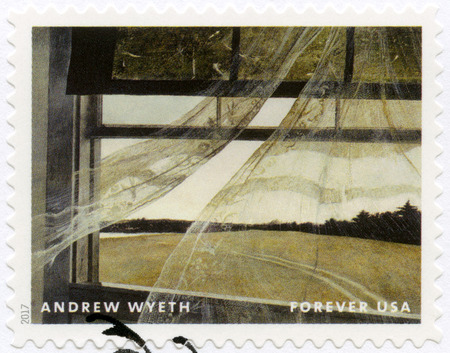 USA - CIRCA 2017: A stamp printed in USA shows Wind from the Sea, Andrew Newell Wyeth (1917-2009), Ceremony Memento, circa 2017 Foto de archivo - 120168200
