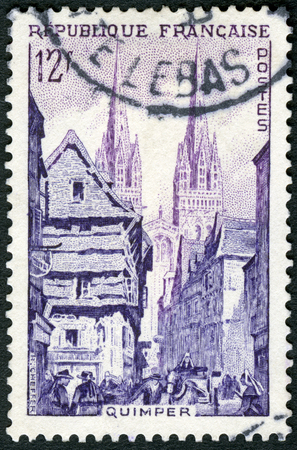 FRANCE - CIRCA 1954: A stamp printed in France shows Street Corner, Quimper, Views, circa 1954 報道画像