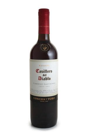 ST. PETERSBURG, RUSSIA - NOVEMBER 05, 2018: Bottle of Casillero Del Diablo, Concha Y Toro, Cabernet Sauvignon, Chile, 2017