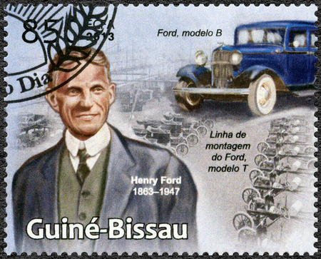 GUINEA-BISSAU - CIRCA 2013: A stamp printed in Republic of Guinea-Bissau shows portrait of Henry Ford (1863-1947) and model B, circa 2013