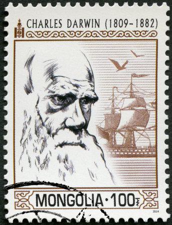 MONGOLIA - CIRCA 2014: A stamp printed in Mongolia hows portrait Charles Darwin (1809-1882), circa 2014