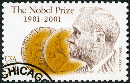 UNITED STATES OF AMERICA - CIRCA 2001: A stamp printed in USA shows Alfred Bernhard Nobel (1833-1896), and Obverse of Medals, Nobel Prize Fund Established, circa 2001 Editöryel