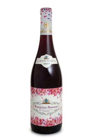 ST. PETERSBURG, RUSSIA - NOVEMBER 12, 2018: Bottle of Albert Bichot Beaujolais Nouveau, Burgundy, France, 2018 報道画像