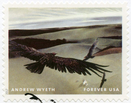 USA - CIRCA 2017: A stamp printed in USA shows Soaring birds, Andrew Newell Wyeth (1917-2009), Ceremony Memento, circa 2017