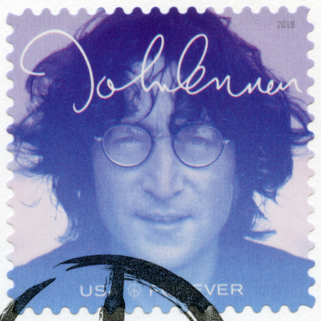 USA - CIRCA 2018: A stamp printed in USA shows John Winston Ono Lennon (1940-1980), series Music Icons, Forever, circa 2018