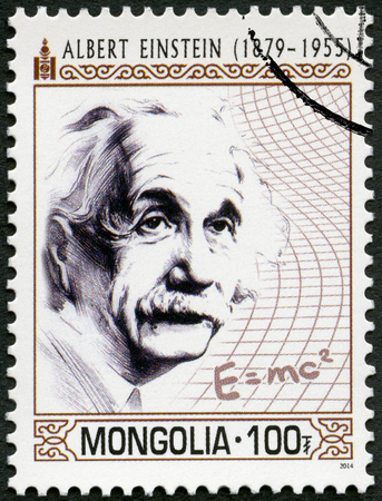 MONGOLIA - CIRCA 2014: A stamp printed in Mongolia shows portrait shows shows Albert Einstein (1879-1955), physicist, circa 2014