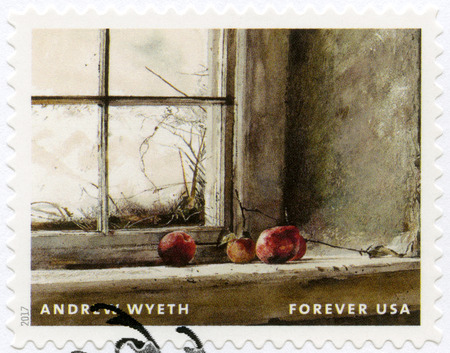 USA - CIRCA 2017: A stamp printed in USA shows Apples on window sill, Andrew Newell Wyeth (1917-2009), Ceremony Memento, circa 2017