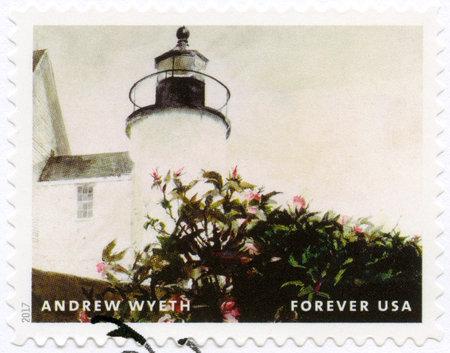 USA - CIRCA 2017: A stamp printed in USA shows Lighthouse, Andrew Newell Wyeth (1917-2009), Ceremony Memento, circa 2017 Foto de archivo - 120168349