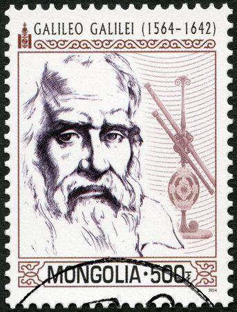 MONGOLIA - CIRCA 2014: A stamp printed in Mongolia shows shows Galileo Galilei (1564-1642), circa 2014